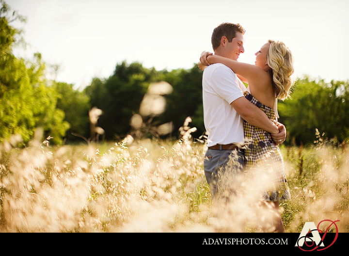 Dallas engagement portraits in a wild field in Las Colinas Texas by Plano Texas Wedding Photographer Allison Davis Photography