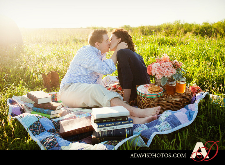 SarahJosh Romantic Picnic Engagement Portraits by Dallas Wedding Photographer Allison Davis Photography 0091 Sarah + Josh: Romantic and Fun Engagement Portrait Picnic & More