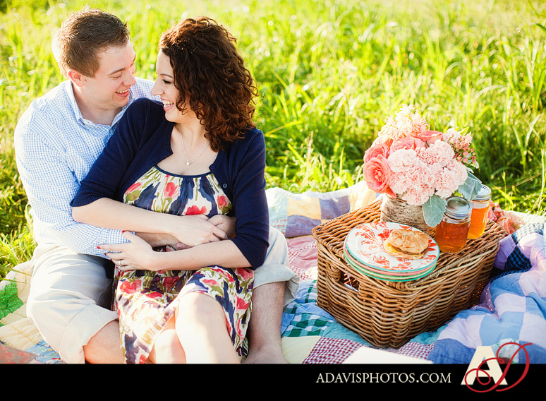 SarahJosh Romantic Picnic Engagement Portraits by Dallas Wedding Photographer Allison Davis Photography 0111 Sarah + Josh: Romantic and Fun Engagement Portrait Picnic & More