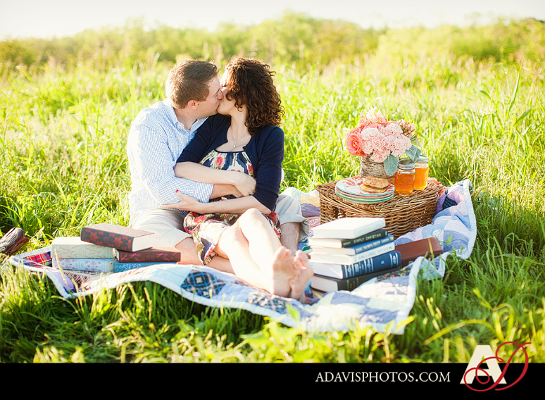 SarahJosh Romantic Picnic Engagement Portraits by Dallas Wedding Photographer Allison Davis Photography 0151 Sarah + Josh: Romantic and Fun Engagement Portrait Picnic & More