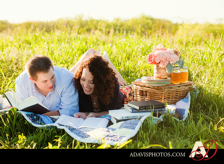 SarahJosh Romantic Picnic Engagement Portraits by Dallas Wedding Photographer Allison Davis Photography 0161 Sarah + Josh: Romantic and Fun Engagement Portrait Picnic & More