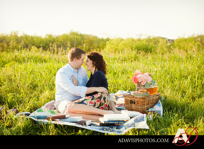 SarahJosh Romantic Picnic Engagement Portraits by Dallas Wedding Photographer Allison Davis Photography 0181 Sarah + Josh: Romantic and Fun Engagement Portrait Picnic & More