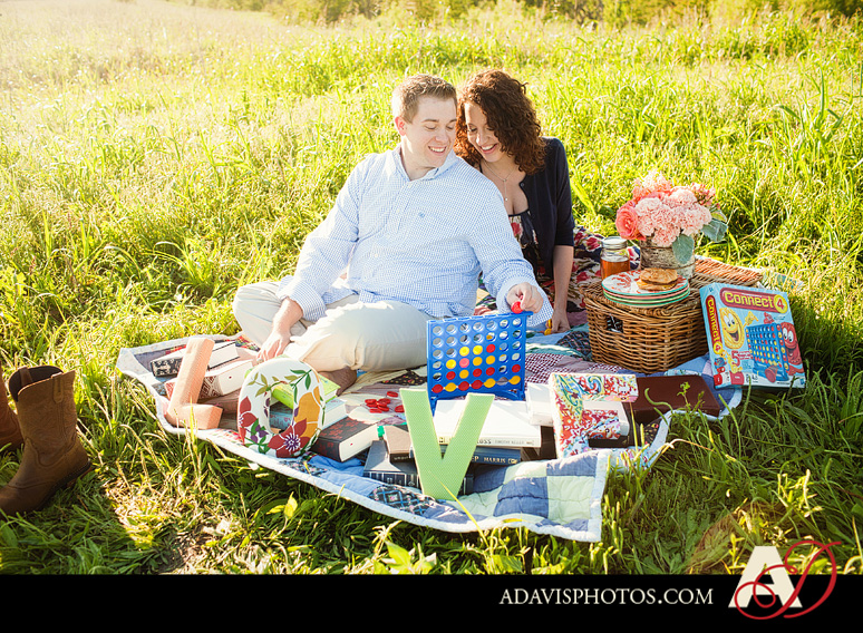 SarahJosh Romantic Picnic Engagement Portraits by Dallas Wedding Photographer Allison Davis Photography 0191 Sarah + Josh: Romantic and Fun Engagement Portrait Picnic & More