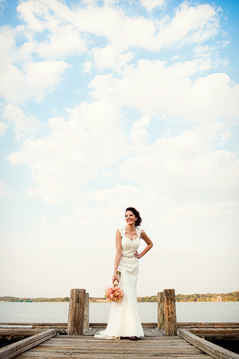 White Rock Lake fishing dock bridal portraits by Allison Davis Photography
