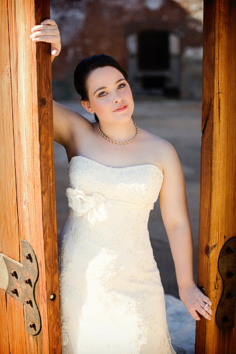 Bridal portraits at the McKinney Cotton Mill by Dallas wedding photographer