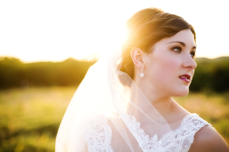 beautiful bridal portrait with sunlight behind the veil by Allison Davis Photography