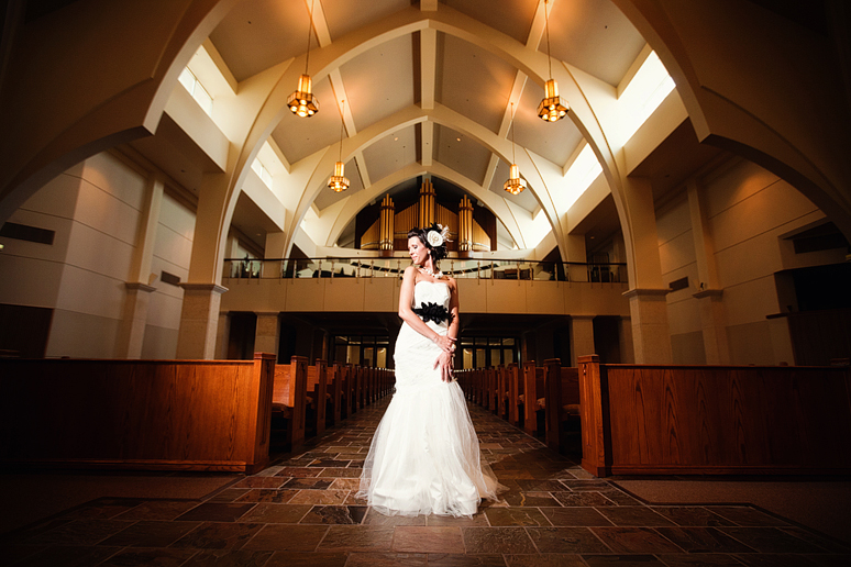 awesome bridal portraits with cool architecture at Christ Church in Plano by Allison Davis Photography