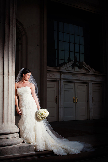 Bridal portraits on the steps of Park Cities Baptist Church by Allison Davis Photography