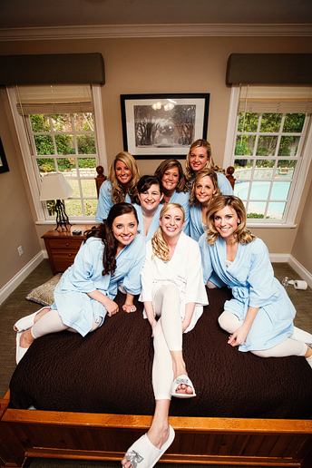 bridesmaids in matching robes
