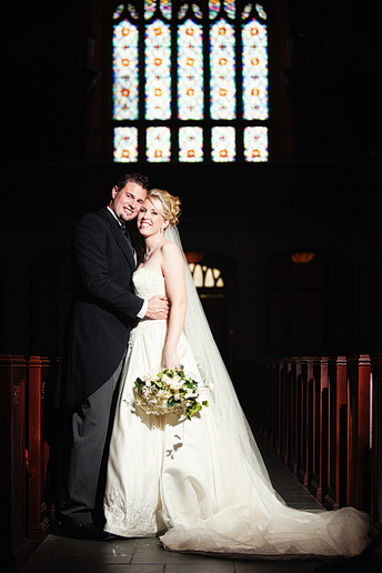 bride and groom portraits at highland park united methodist church by dallas wedding photographer Allison Davis Photography