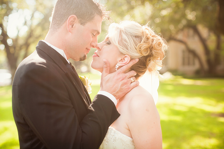 wedding portraits of the Bride and groom by Allison Davis Photography at highland park united methodist church