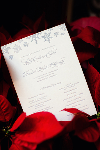 embossed winter wedding programs at University Christian Church