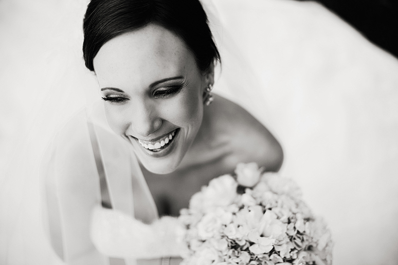 classic black and white photograph of a happy bride at Park Cities Baptist Church
