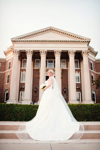 bridal portrait in front of Dallas hall by North Texas wedding photographer Allison Davis Photography