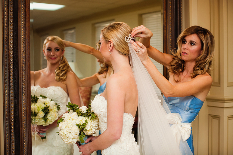 bride getting ready for a wedding at University Christian Church