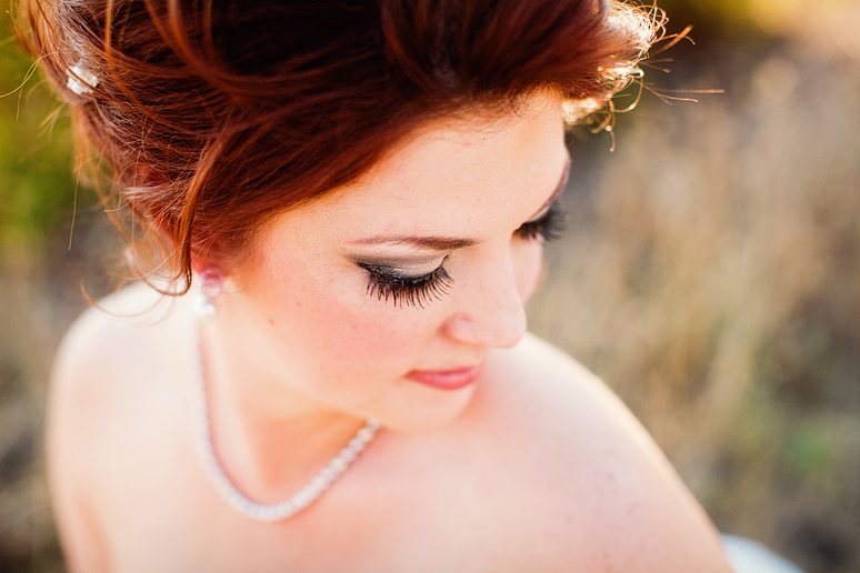 close up bridal portrait featuring the bride's eye lashes by Allison Davis Photography