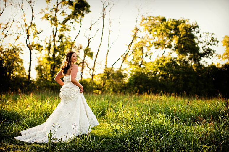 elegant bridal portraits in a wild field in Celina Texas
