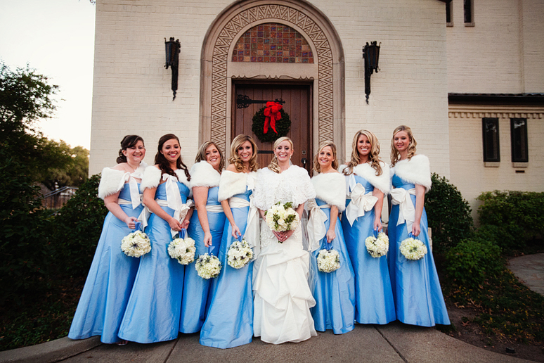 winter bridesmaids at University Christian Church wedding