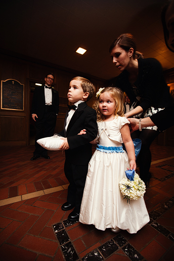 flower girl and ring bearer in wedding ceremony at University Christian Church in Fort Worth