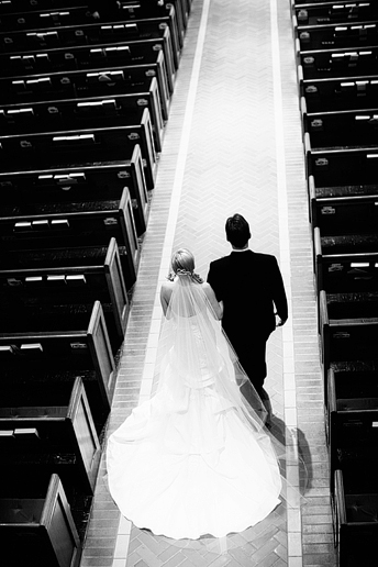 bride entering wedding ceremony at University Christian Church in Fort Worth
