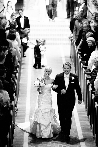 wedding exit at University Christian Church in Fort Worth