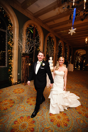 bride and groom entrance at their wedding reception at the fort worth club