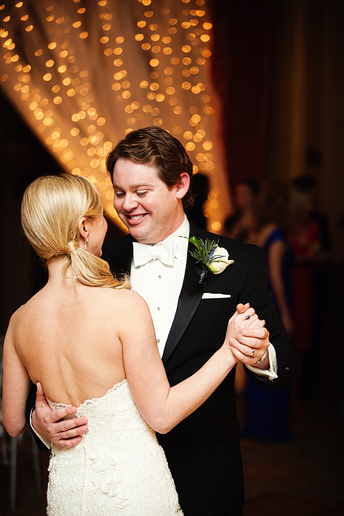 bride and groom's first dance at their wedding reception at the fort worth club