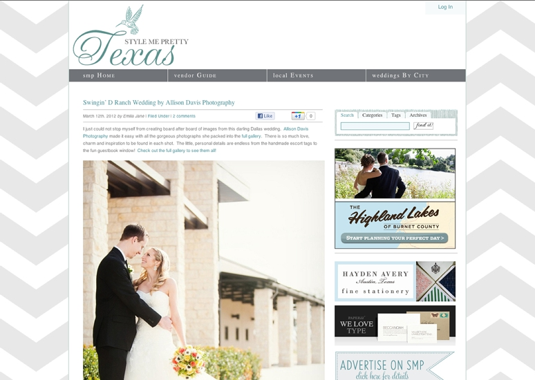 Texas Wedding Photographer Allison Davis Photography Featured Style Me Pretty Texas 1 <span>Published:</span><br/>Hannah & Sam Featured on Style Me Pretty Texas<br/>{Dallas Wedding Photographer}